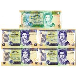 Belize. Central Bank of Belize. Group of 5 Issued Banknotes