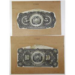 Banco Central De Bolivia, ca.1928 ABN Back Proof Pair for 5 and 10 Bolivanos Banknotes
