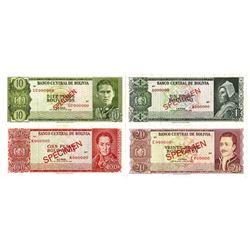 Banco Central de Bolivia. 1962. Lot of 4 Specimen Notes.