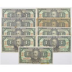 Brazil. Banco do Brasil, 1923 (1) and 1944 (8) Group of 9 Issued Banknotes