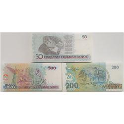 Brazil. Banco Central do Brasil. 500, 200, and 50 Cruzados Novos Uncirculated Packs of 100