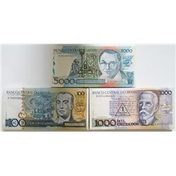 Brazil. Banco Central do Brasil. 5000, 1000 and 100 Cruzados Uncirculated Packs of 100