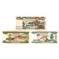 National Bank of Cambodia. 1995-1999. Lot of 3 Specimen Notes.