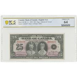 """Bank of Canada, 1935 Commemorative, """"English Title"""" High Grade Issued Note."""