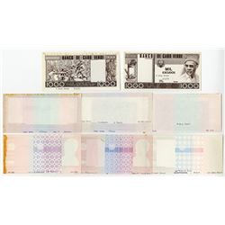 Banco de Cabo Verde. 1977. Group of Eight Progressive Proof Notes.