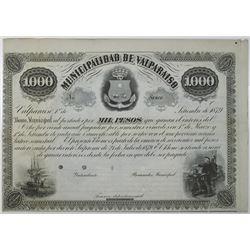 Municipalidad de Valpraiso 1879 Specimen Bond