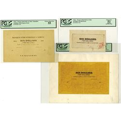 Banque Industrielle de Chine, 1916, $10 Proof and Mockup Design Model Trio.