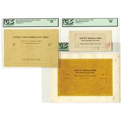 Banque Industrielle de Chine, 1916, $100 Proof and Mockup Design Model Trio.