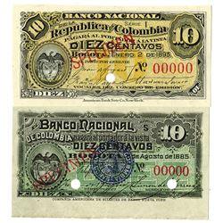 Banco Nacional de Colombia. 1885-1893. Lot of 2 Specimen Notes.