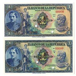 Banco de la Republica. 1944 & 1950. Lot of 2 Specimen Notes.