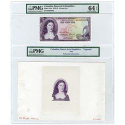 Banco de la Republica. 1972. Proof Vignette and Matching Issued Note.