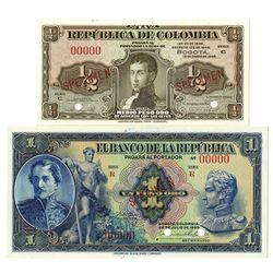 Banco de la Republica & Banco de Colombia. 1929 & 1948. Lot of 2 Specimen Notes.