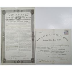 New Granada Waste Land Certificate Pair, ca.1861 & 1864.