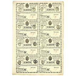 Isla De Cuba, 1841 Uncut Sheet of 8 I/U Lottery tickets
