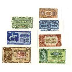 Statni Banky Ceskoslovenske. 1953. Lot of 7 Issued Notes.