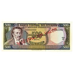 Banco Central del Ecuador. ND (1976-1982). Specimen Note.