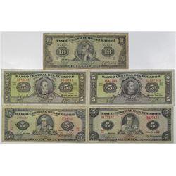 Ecuador. Banco Central del Ecuador, ca. 1951-1963 Issued Banknote Quintet.