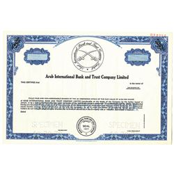 Arab International Bank and Trust Co. Ltd. 1978 Stock Certificate