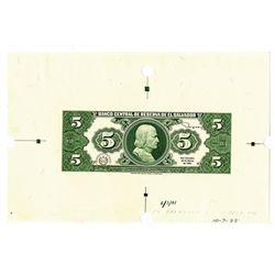 Banco Central de Reserva de El Salvador, 1988, Reverse Proof