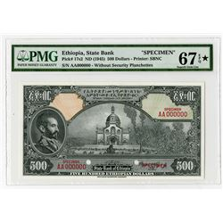 State Bank of Ethiopia, ND (1945) $500 Specimen Banknote, Possibly One of the Highest Graded Known.