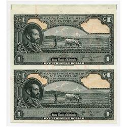 State Bank of Ethiopia. ND (1945). Uncut Sheet of 2 Progress Proof Specimen Banknotes.
