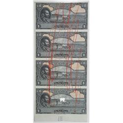 Ethiopia. State Bank of Ethiopia, ca.1945 Uncut Specimen/Proof Banknote Sheet of 4.