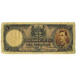 Fiji. Government of Fiji. 1938, 5/- Shillings, P-37b Fine Back with Mounting