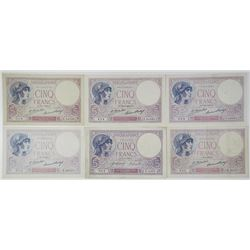 Banque de France. 1918-1930. Lot of 6 Issued Notes.