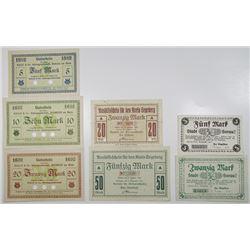 Biebrich am Rhein, Segeberg, & Sorau. 1918. Lot of 7 Issued Emergency Notgeld Banknotes.