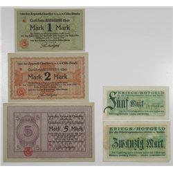Cšln-Deutz & Lindau und Weiler. 1918-1919. Lot of 5 Issued Notgeld Scrip Notes.