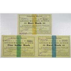 Dortmund-Dorstfeld and Marten. 1914. Lot of 3 Issued Emergency War Notes.