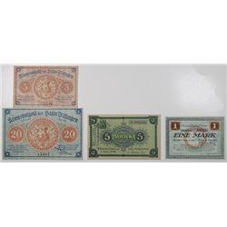 Frankfurt am Oder, Villingen, & Wetzlar. 1918. Lot of 4 Issued Emergency Notgeld Banknotes.
