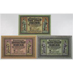 Freiberg i. Sachsen. Stadt Freiberg, 1918. Lot of 3 Issued Notgeld Notes.