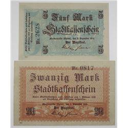 FŸrstenwalde (Spree). 1918. Lot of 2 Issued Notgeld Notes.