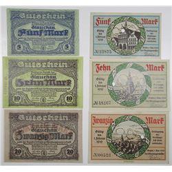 Gie§en & Glauchau Amtshauptmannschaft. 1918. Lot of 6 Issued Notgeld Notes.