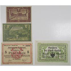 Goslar & Furtwangen. 1918. Lot of 4 Issued Notgeld Notes.