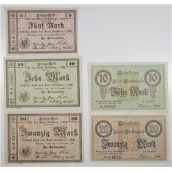 Greifswald & GrŸnberg. 1918. Lot of 5 Issued Notgeld War Emergency Scrip Notes.