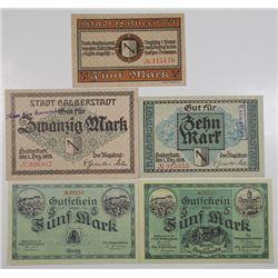 Halberstadt & Greiz. 1918. Lot of 5 Issued Notgeld Notes.