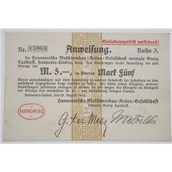 Hannoversche Maschinenbau Actien-Gesellschaft (Hanomag). 1914. Issued Notgeld Note.