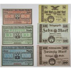 Haspe & GrŸnberg in Schlesien. 1918. Lot of 6 Issued Notgeld Notes.