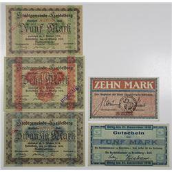 Heidelberg & Hirschberg. 1918. Lot of 5 Issued Notgeld Notes.