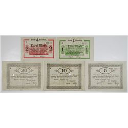 Hersfeld. Stadt Hersfeld, 1918. Lot of 5 Issued Notgeld Notes.