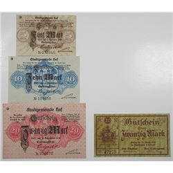 Hof & Limbach. 1918-1920. Lot of 4 Issued Notgeld Notes.