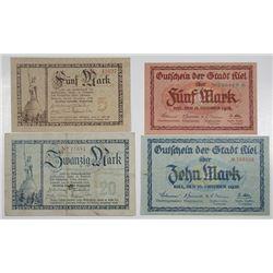 Kiel & Lippe FŸrstlich Lippische Regierung in Detmold. 1918. Lot of 4 Issued Notgeld Notes.