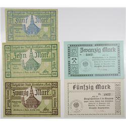 Knurow Kšnigliche Berginspektion & Kirchheim u. Teck. 1918. Lot of 5 Issued Notgeld Notes.