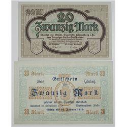 Kulmbach & Kšnigsberg in Franken. 1918. Lot of 2 Issued Notgeld Notes.
