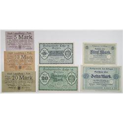 Lauenburg in Pommern, Lahr, & Kissingen (Bad Stadt). 1918. Lot of 7 Issued Notgeld Notes.
