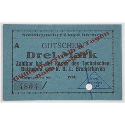 Nordddeutscher Lloyd Bremen. 1914. Issued Emergency Notgeld Note.
