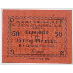 Paulsdorf (Hindenburg O.S.). ND (ca. 1914-1918). Issued Note.