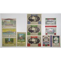 Plšn. 1921. Der Stadt Plšn, Lot of 9 Issued Notes.